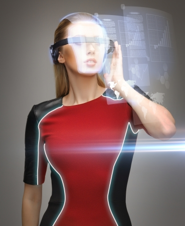 picture of beautiful woman with futuristic glasses Stock Photo