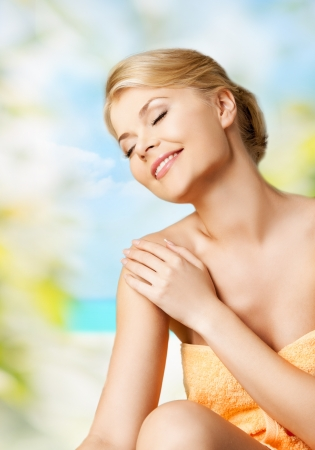 soft center: picture of happy woman sitting in spa
