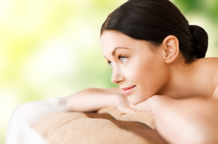 picture of woman in spa salon lying on the massage desk Stock Photo - 20112225