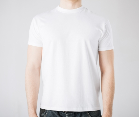 man t shirt: close up of man in blank t-shirt