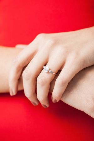 picture of woman showing wedding ring on her hand photo