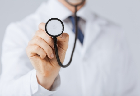 picture of doctor hand with stethoscope listening something Reklamní fotografie