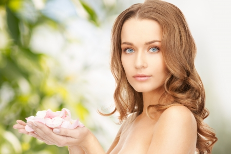picture of beautiful woman with rose petals Stock Photo - 20328104