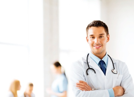 doctor appointment: bright picture of male doctor with stethoscope