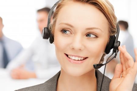 call centre girl: bright picture of friendly female helpline operator