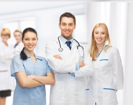 family doctor: picture of young team or group of doctors