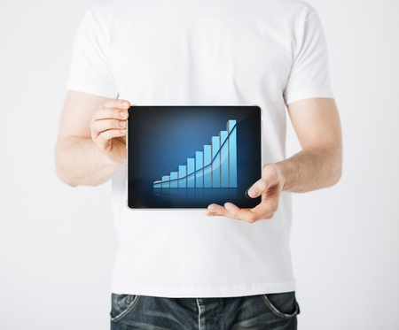 picture of man hands holding tablet pc with graph photo