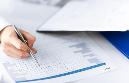 beeld van de vrouw hand wrtiting op papier met nummers