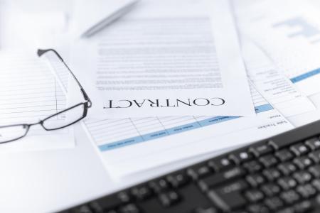 picture of signed contract paper with glasses Stock Photo - 20553799