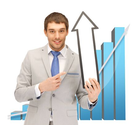businessman with arrow and big 3d chart photo