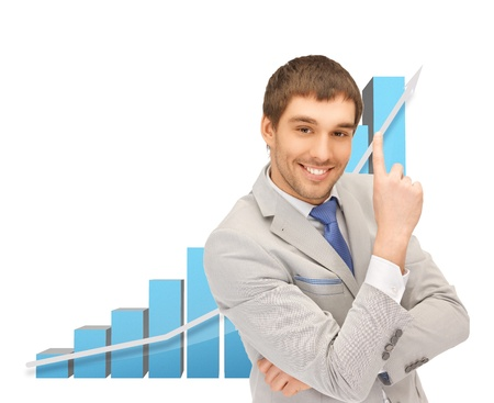 picture of successful businessman with big 3d chart photo