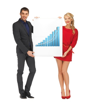 woman holding big board with 3d graph photo