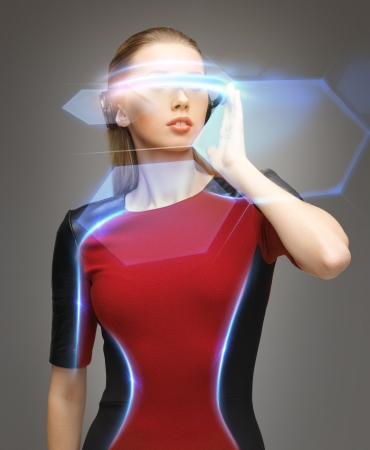 picture of beautiful woman with futuristic glasses Imagens