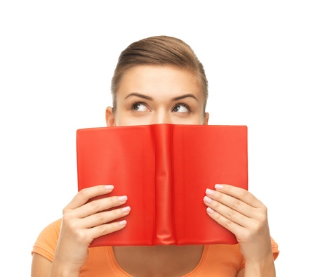 red book: picture of woman eyes and hands holding red book