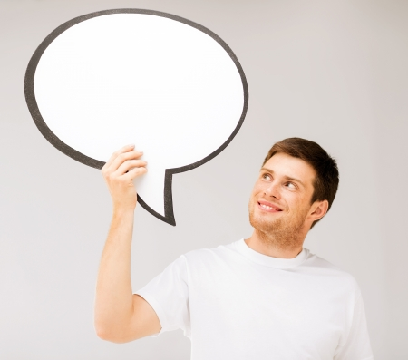free thought: picture of smiling young man with blank text bubble