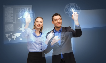picture of two business people working with virtual screen photo