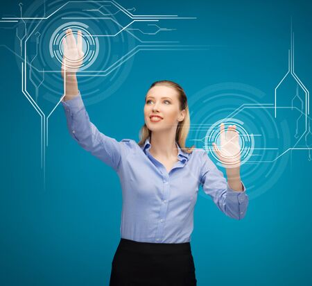 fi: picture of attractive businesswoman touching virtual screen