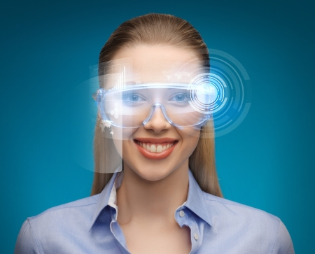 picture of handsome businesswoman with digital glasses photo