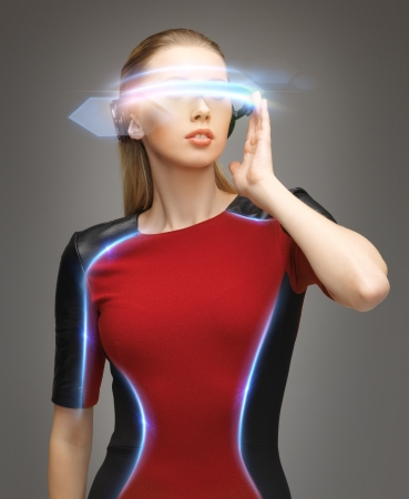picture of attractive woman with digital glasses photo