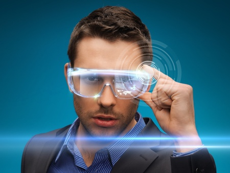 digi: picture of handsome businessman with digital glasses Stock Photo