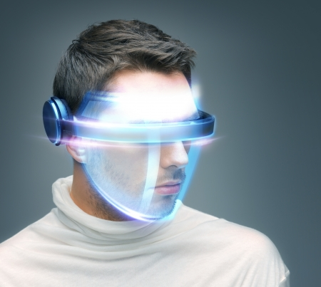 new technology: picture of handsome man with digital glasses