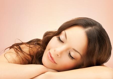 mascara: beautiful woman with long eyelashes in spa Stock Photo