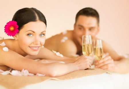 picture of couple in spa salon drinking champagne photo