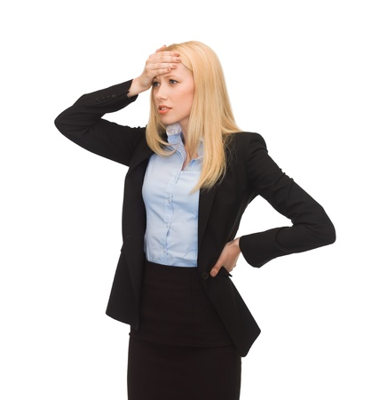 stressed woman holding her head with hand Stock Photo - 20610903