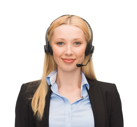 picture of friendly female helpline operator with headphones Stock Photo - 20611806
