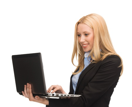 bright picture of smiling woman with laptop computer photo