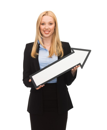 picture of smiling businesswoman with direction arrow sign photo