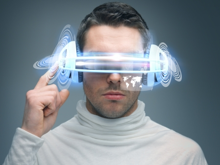 futuristic man: picture of handsome man with digital glasses