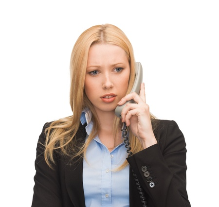 bright picture of confused woman with phone Stock Photo - 20613773