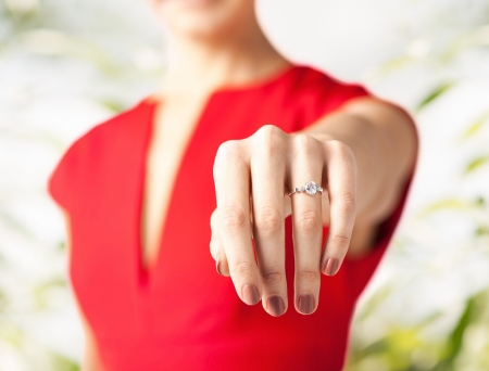diamond jewellery: picture of woman showing wedding ring on her hand Stock Photo