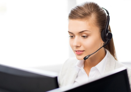 representatives: picture of friendly female helpline operator with headphones