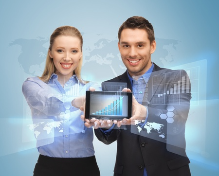 digi: picture of two business people showing tablet pc with virtual screen