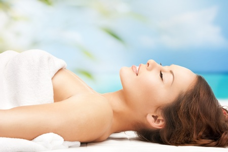 woman in spa: close up of woman on resort in spa Stock Photo