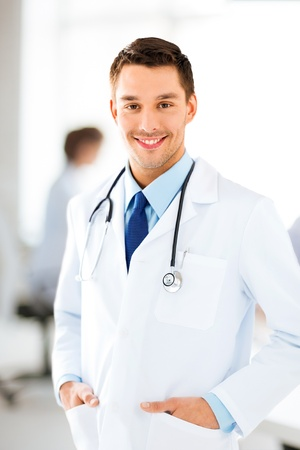 bright picture of male doctor with stethoscope Stock Photo - 20672284