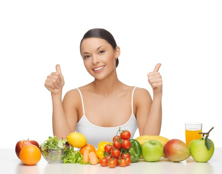 woman with lot of fruits and vegetables showing thumbs up photo