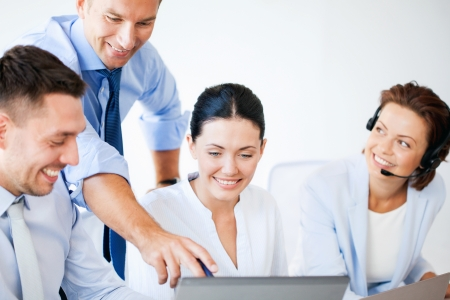 call: picture of group of people working in call center or office