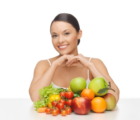 picture of happy woman with lot of fruits and vegetables