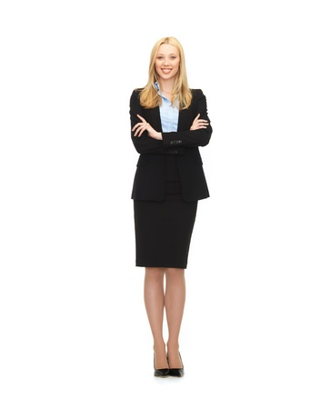 bright picture of friendly young smiling businesswoman photo
