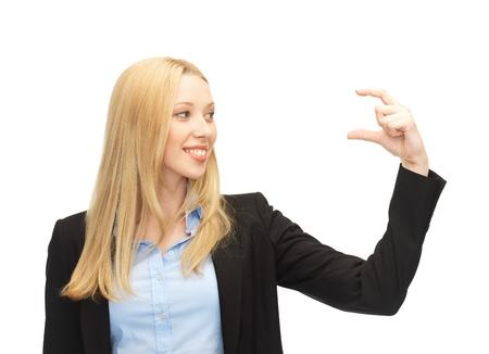 picture of beautiful young businesswoman holding something imaginary photo