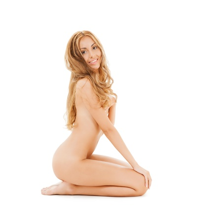 picture of attractive naked woman with long hair sitting on the floor Stock Photo - 20818667