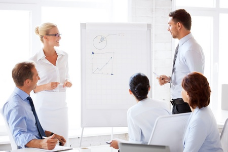 flip chart: smiling business team working with flip chart in office