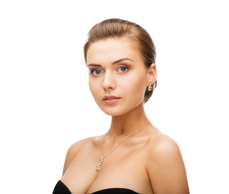 necklaces: beauty and jewelry concept - woman wearing shiny diamond earrings