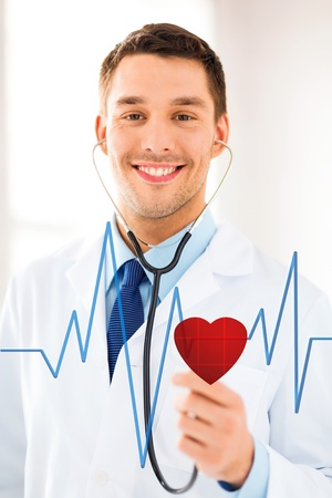 digi: doctor with stethoscope listening heart beat on virtual screen