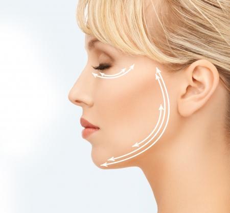 close-up van mooie jonge vrouw gezicht met pijlen