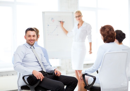 flip chart: picture of smiling businessman on business meeting in office