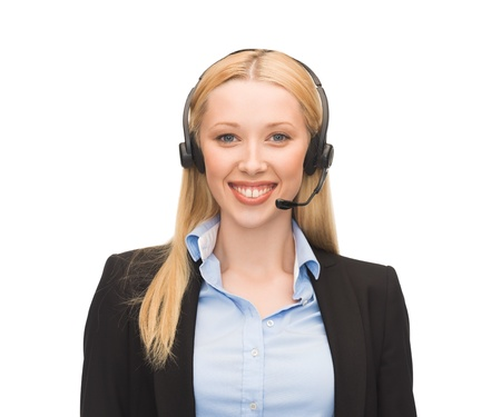 picture of friendly female helpline operator with headphones Stock Photo - 20771673